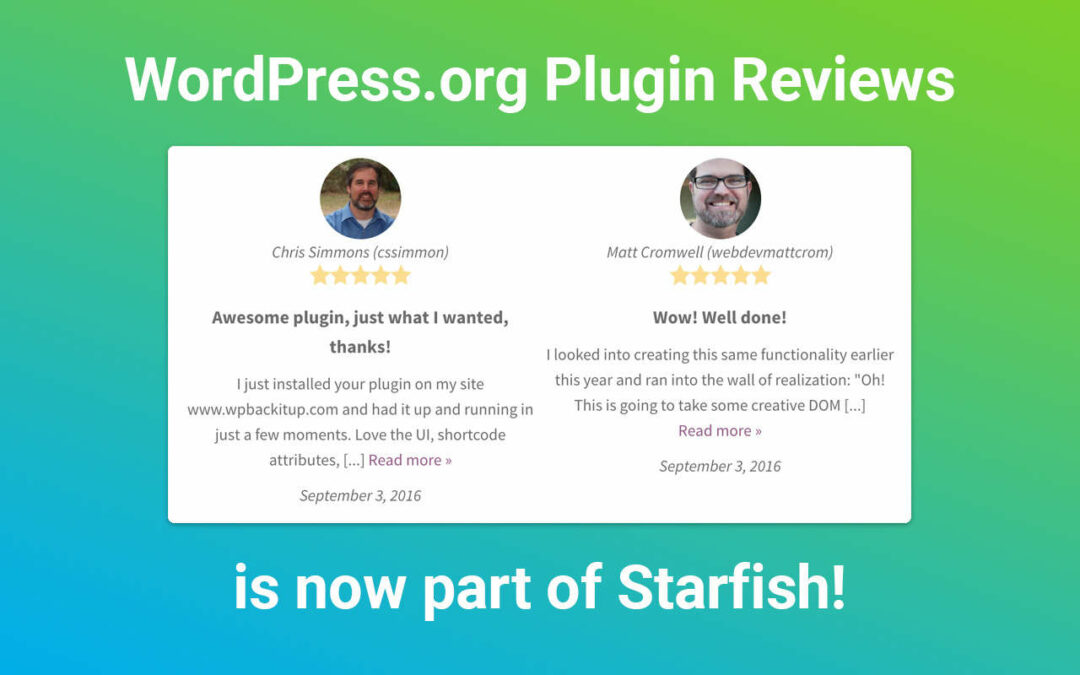 WordPress.org Plugin Reviews is Now a Starfish Plugin!