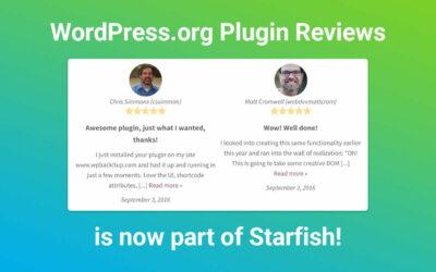 WordPress.org Plugin Reviews is Now a Starfish Plugin!